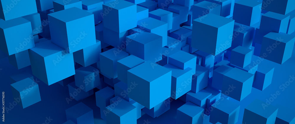 Fototapeta Abstract blue cubic background