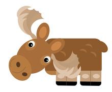Cartoon Scene With Moose Elk O...