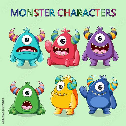 Fototapeta Set of cute monsters character vector illustration obraz