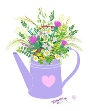 Watering Can With Wild Flowers...