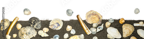 Canvastavla a collection of seashells with black sand on white backgound for border or banne
