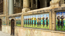 Mosaic Tiles Of Shams-ol Emareh Building In Golestan Palace, Tehran, Iran