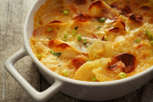 Potato Gratin / Scalloped potatoes close up, selective focus Canvas Print