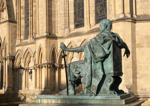 York, Yorkshire, UK: 23rd January 2020. Statue Of Constantine The Great Outside York Minster, England