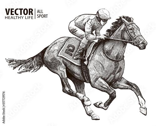 Jockey on racing horse Wallpaper Mural