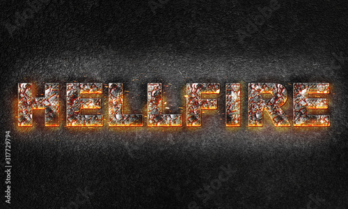 Word Hellfire is written with burning text effect on dark textured background Canvas Print