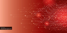 Abstract Technology Background, Circuit Board On Dark Red Color. Hi-tech Or Digital Future Technology Concept. Vector Illustration.