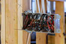 Interior View Of A Electrical Box With Wiring In A New Home Under Construction Wooden Beams