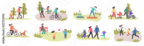 Fototapeta Set of eight different family activities in spring with children and parents, riding bicycles, using scooters, exercising, walking in park, walking dog, playing in groups, colored vector illustration obraz