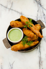 Fried Finger Foods With Green Sauce