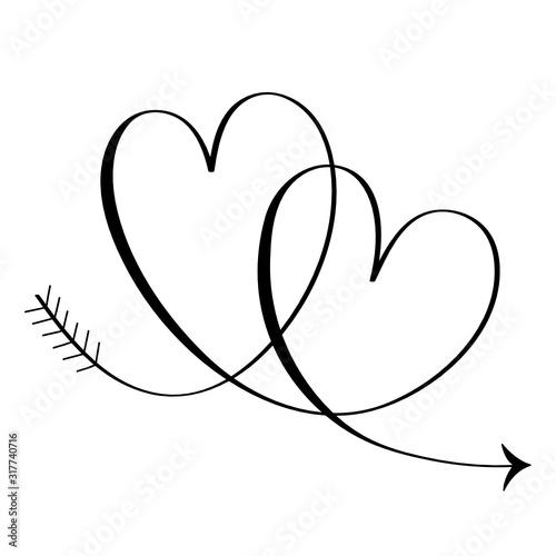 Fototapety, obrazy: Interlocking black vector hearts with arrow