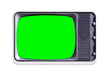 Leinwandbild Motiv vintage television with green screen