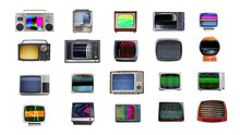 Animated Retro Televisions With Static And Glitches.