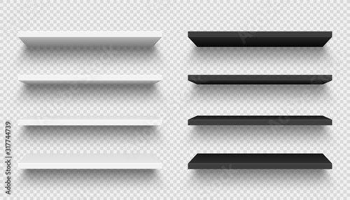 Cuadros en Lienzo Realistic black and white wall shelf collection on checkered background