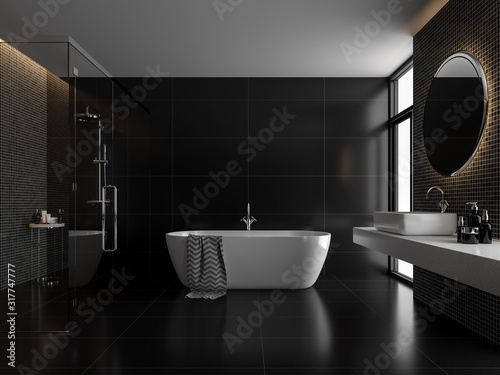 Fotografía Modern luxury black bathroom 3d render,The room has black tile floor and black mosaic wall, a clear glass shower partition,There are large windows nature light shining in to the room