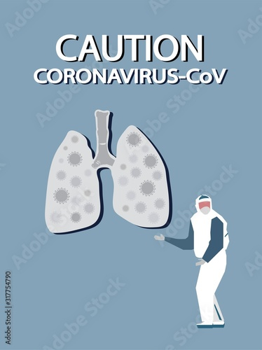 Coronavirus CoV in lungs isolated Wallpaper Mural