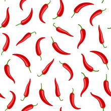 Hot Chili Peppers Seamless Pattern. Vector Illustration.