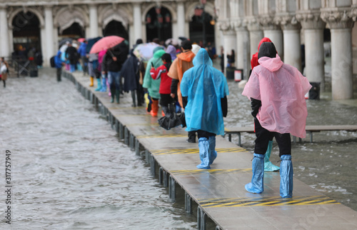 many people on the footbridge in Venice Canvas Print