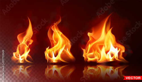 Obraz Realistic burning fire flames with shiny bright elements. Isolated on black background. Power, fuel and energy symbol. Layered vector icon set. - fototapety do salonu