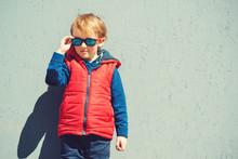 Stylish Little Boy In Sunglass...
