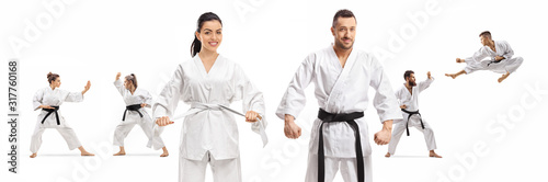 Cuadros en Lienzo Male and female in karate kimonos standing in front of men and women practicing