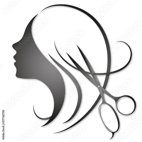 Girl with curls of hair and scissors illustration for a beauty salon and stylist