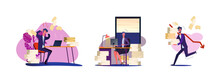 Set Of Busy People Having Overload At Work. Flat Vector Illustrations Of Men And Women Stressing Out In Office. Work Overload And Paperwork Concept For Banner, Website Design Or Landing Web Page