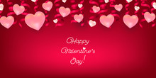 Valentine's Day Pink Romantic Background With Hearts. Red Wallpaper. Vector Card.