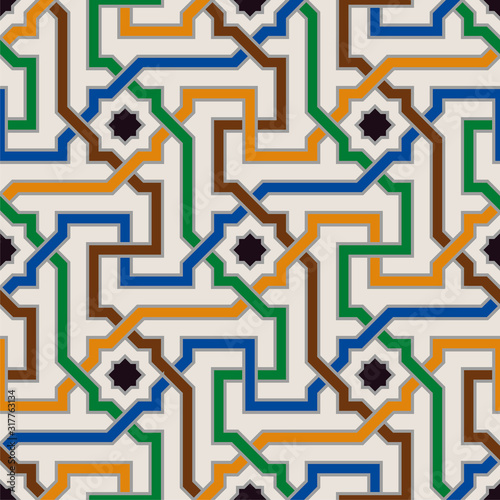 Fotografiet  Colorful Ornate Seamless Vector Pattern of Moorish Tiled Decorations