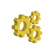 Gear Mechanism.3d Vector Illustration And Isometric View.