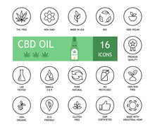 Set Of CBD Oil Icons. Marijuana Extract. THC Free, Non Gmo, Made In USA, Bio, 100% Vegan, Premium Quality, Lab Tested, Omega 3-6-9, Pure Natural, No Pesticides, Risk Free, Organic, Eco, No Gluten, Gmp