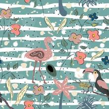 Flamingo Bird And Toucan Seaml...