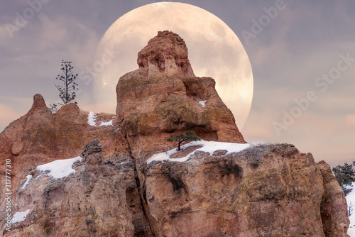 Full Moon rising behind rocks in Bryce Canyon National Park Fototapet
