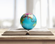 Open Book And Globe Planet On ...
