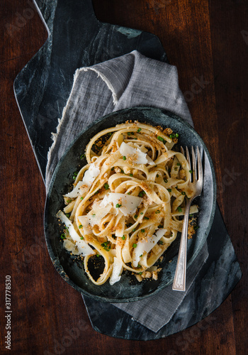 Fettuccine with cheese - 317778530
