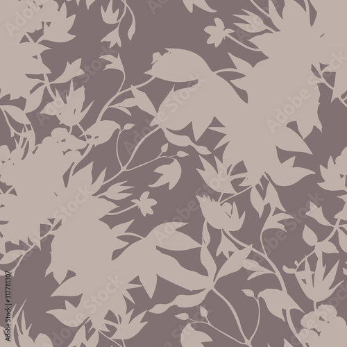 Seamless floral pattern with abstract garden plants Fototapet
