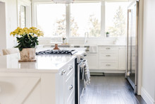 Bright White Kitchen Island Wi...