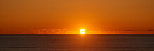 Panoramic Sunset View From The Beach Near City Of Newport, Oregon Coastline.