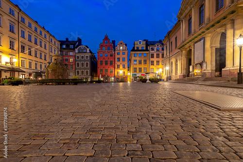 Canvastavla Stockholm. Square Sturtoret at dawn.