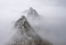 Great Wall Of China During Foggy Weather