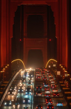 Traffic On Golden Gate Bridge At Night