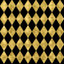 Elegant Black And Gold Harlequin Pattern