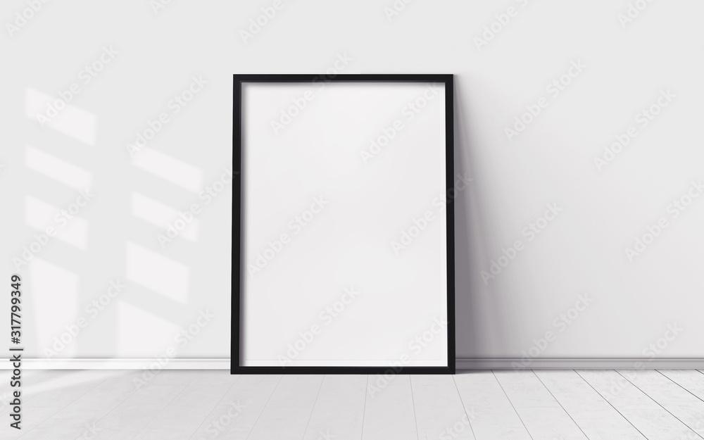 Fototapeta White poster with blank frame on wooden floor. Mockup for you design print.