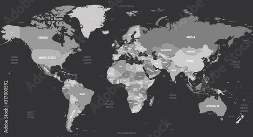World map - grey colored on dark background. High detailed political map of World with country, capital, ocean and sea names labeling