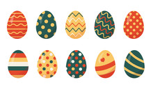 Set Of Colored Easter Eggs Vec...