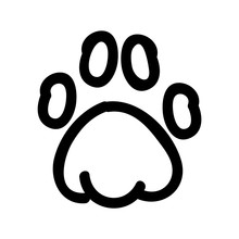Cute Lineart Animal Paw Pad Cartoon Doodle Clip Art. Hand Drawn Mammal Track. Fun Walking Wildlife Marks In Flat Color. Isolated Cat, Dog, Bear Illustration. Vector EPS 10.