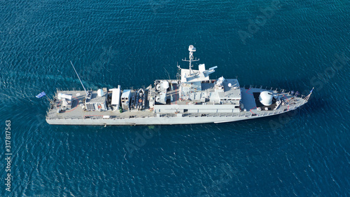 Aerial drone photo of Hellenic Navy Frigate Hydra cruising in low speed in Aeg Wallpaper Mural
