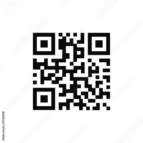 QR Code vector icon. QR code sample for smartphone scanning. Isolated vector illustration. Wall mural