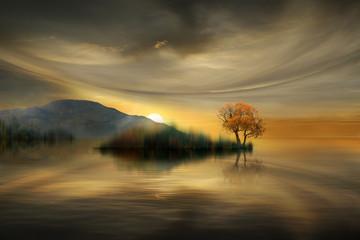 Fototapeta Wschód / zachód słońca beautiful sunset on the lake