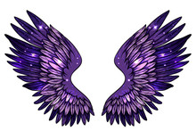 Beautiful Magic Glittered Sparkling Angel Fantasy  Violet Wings, Hand Drawn Vector